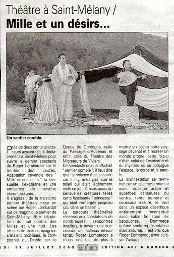 17 juillet 2003 – La Tribune - Roger LombardoThéâtre à Saint-Mélany / Mille et un désirs...