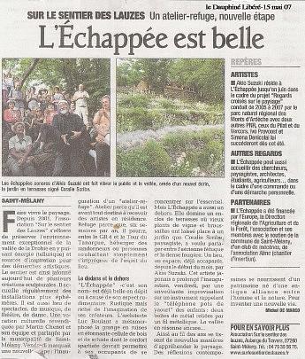 15 mai 2007 – Le Dauphiné Libéré - L'échappée est belle