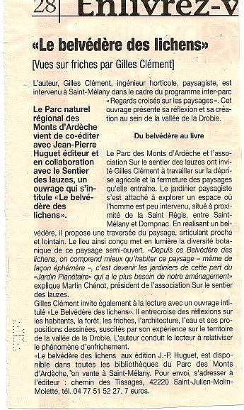 27 décembre 2007 - La Tribune - Le belvédère des Lichens – Vues sur friches par Gilles Clément