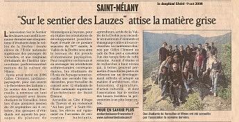 9 Octobre 2008 - Le Dauphiné Libéré - Gilles Clément et les étudiants de l'école Nationale supérieure des paysages de Versailles« Sur le sentier des lauzes » attise la matière grise