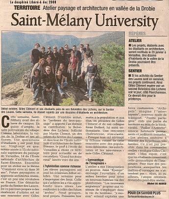 6 décembre 2008 - Le Dauphiné Libéré - Gilles Clément et les étudiants de l'école Nationale d'Architecture de St Etienne