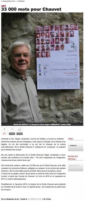 08 octobre 2009 - Le Dauphiné Libéré - 33000 mots pour Chauvet
