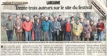 21 octobre 2009 - Le Dauphiné Libéré- trente-trois auteurs sur le site du festival