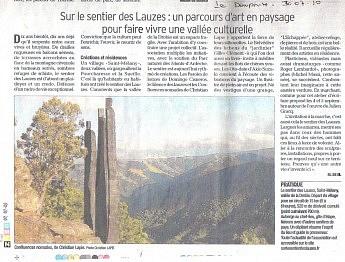 30 juillet 2010 - Le Dauphiné Libéré - Sur le sentier des lauzes : un parcours d'art en paysage pour faire vivre le projet d'une vallée culturelle
