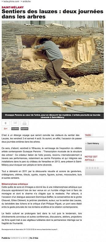 3 août 2012 - Le Dauphiné Libéré - Sentier des lauzes : deux journées dans les arbres