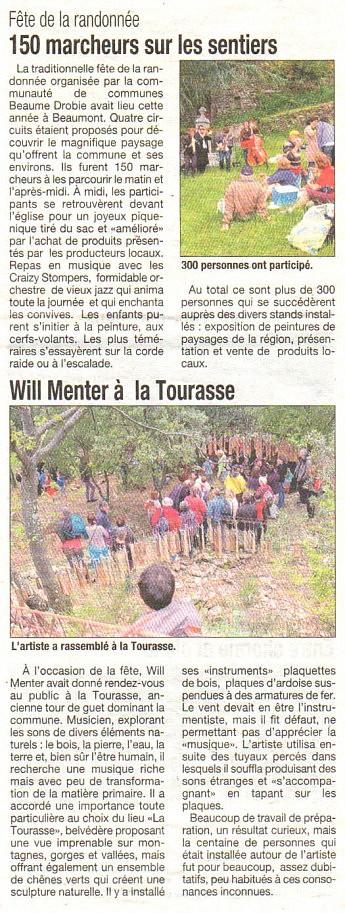 16 mai 2013 - La Tribune - Fête de la randonnéeBeaumont - Will Menter à la Tourasse