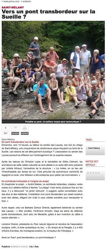 06 août 2014 - Le Dauphiné Libéré - Vers un pont transbordeur sur la sueille ?