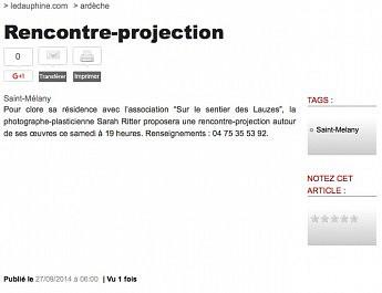 27 septembre 2014 - Le Dauphiné Libéré - Rencontre-projection avec Sarah Ritter