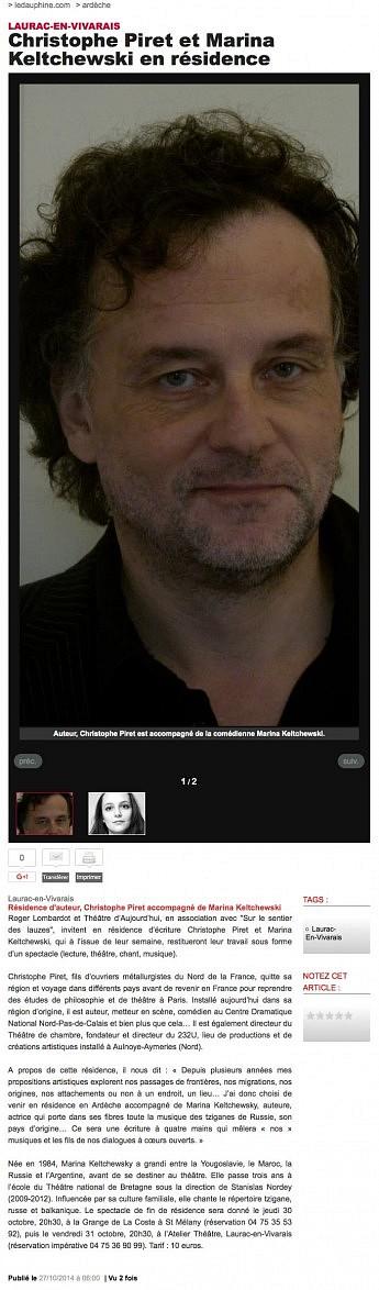 27 octobre 2014 - Le Dauphiné Libéré - Christophe Piret et Marina Keltchewski en résidence