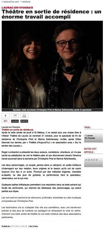 03 novembre 2014 - Le Dauphiné Libéré - Théâtre en sortie de résidence : un énorme travail accompli