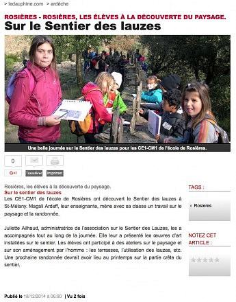 18 décembre 2014 - Le Dauphiné Libéré - Rosières, les élèves à la découverte de paysage - Sur le sentier des lauzes