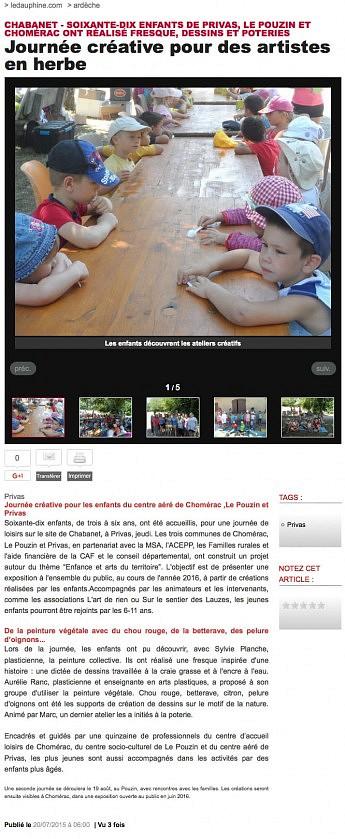 20 juillet 2015 - Le Dauphiné Libéré - Privas - Journée créative pour des artistes en herbe