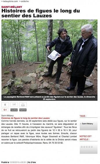 12 septembre 2015 - Le Dauphiné Libéré - Histoires de figues le long du sentier des Lauzes
