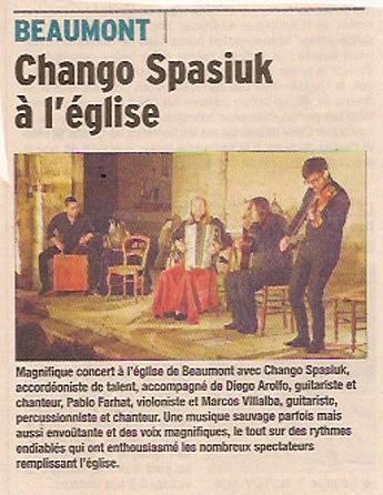 31 octobre 2015  Beaumont - Chango Spasiuk à l'église