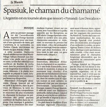 31 octobre 2015 - Le Monde - Spasiuk, le chaman du chamané