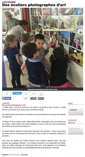 06 juin 2016 - Le Dauphiné Libéré - Des écoliers photographes d'arts