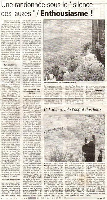 """24 avril 2003 – La Tribune - Christian LapieUne randonnée sous """"le silence des lauzes"""" / Enthousiasme !"""