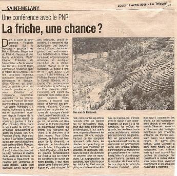 13 avril 2006 – La Tribune - Gilles ClémentUne conférence avec le PNR - La friche, une chance ?