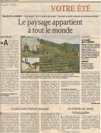 5 août 2006 – Le Dauphiné Libéré - Actualité des projets de l'associationLe paysage appartient à tout le monde