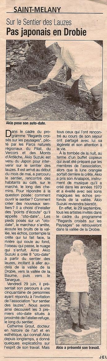 mai 2007 – La Tribune - Akio Suzuki  - oto-datePas japonais en Drobie