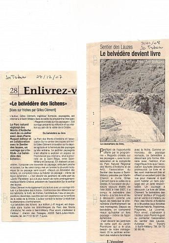 03 janvier 2008 - La Tribune - Gilles Clément – Le belvédère des LichensLe belvédère devient livre