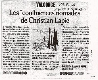 18 mai 2008 - Les «confluences nomades » de Christian Lapie