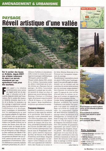 23 mai 2008 – Le Moniteur - Réveil artistique d'une vallée