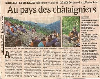 2 août 2008 - Le Dauphiné Libéré - Résidences musicales Declan de Barra et Mariee SiouxAu pays des châtaigniers