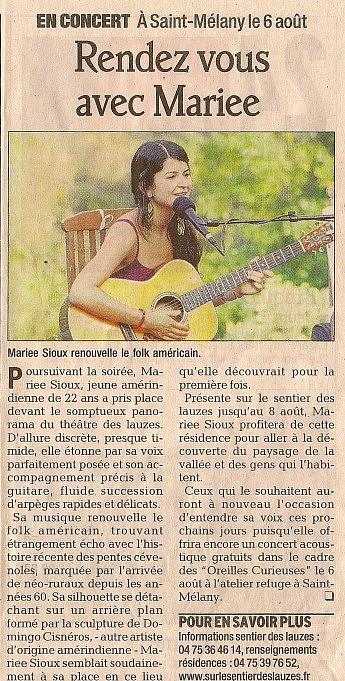 6 août 2008 - Le Dauphiné Libéré - Marie Sioux Concert – Rendez vous avec Mariee