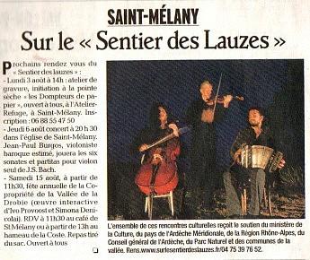 01 août 2009 - Le Dauphiné Libéré - Saint-Mélany - Sur le sentier des lauzes