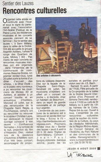 01 août 2009  - La Tribune - Actualité des projets de l'associationRencontres culturelles