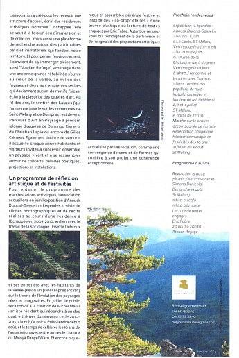 Juin 2011 – Pleine tête - Découverte et sensationSur le sentier des lauzes, parcours d'art en paysage