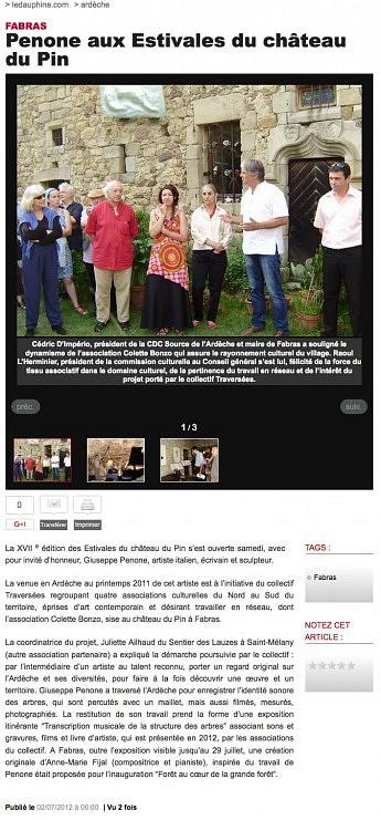 02 juillet  2012 - Le Dauphiné Libéré - Penone aux Estivales du château du Pin