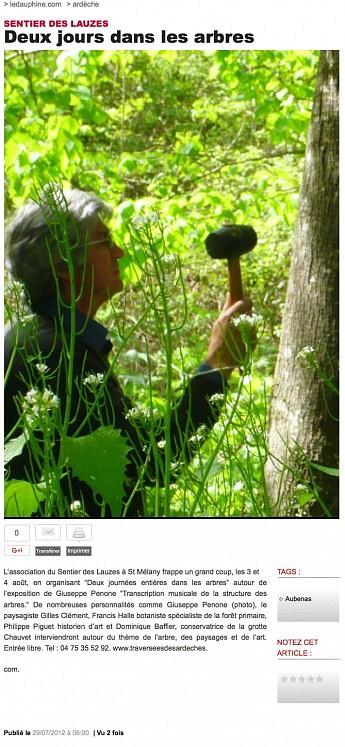 29 juillet  2012 - Le Dauphiné Libéré - Sentier des lauzes : deux jours dans les arbres