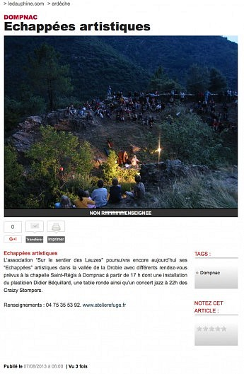 07 août 2013 - Le Dauphiné Libéré - Echappées artistiques