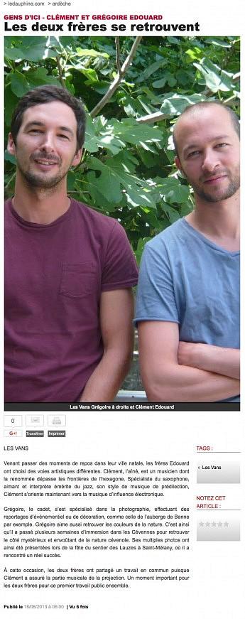 18 août 2013 - Le Dauphiné Libéré - Clément et Grégoire EDOUARD - Les frères se retrouvent