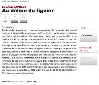 18 septembre 2014 - Le Dauphiné Libéré - Au délice du figuier