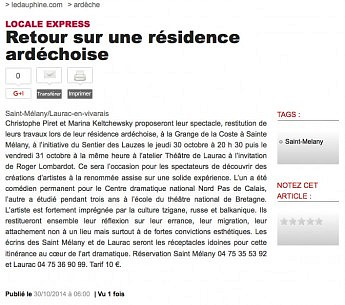 30 octobre 2014 - Le Dauphiné Libéré - Retour sur une résidence ardéchoise