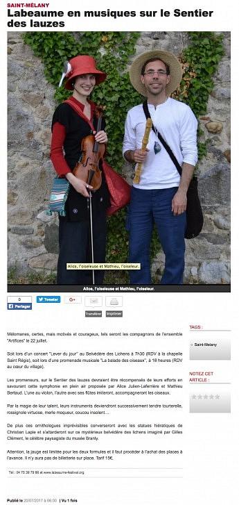 20 Juillet 2017 - Le Dauphiné Libéré - Labeaume en musique sur le sentier des lauzes